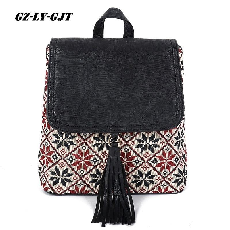 Gz-ly-gjt National Tassel Women Backpack Vintage Boho Leather School Bag For Teenager Brand Girl Cute Back Pack Student Backpack