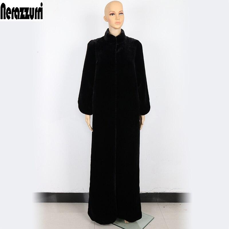 Nerazzurri Duster Faux Cappotto di Pelliccia Delle Donne Nero Extra Long Maxi Cappotto 5xl 6xl 7xl Più Il Formato Della Tuta Sportiva di Inverno di Pelliccia Falso cappotti di pelliccia