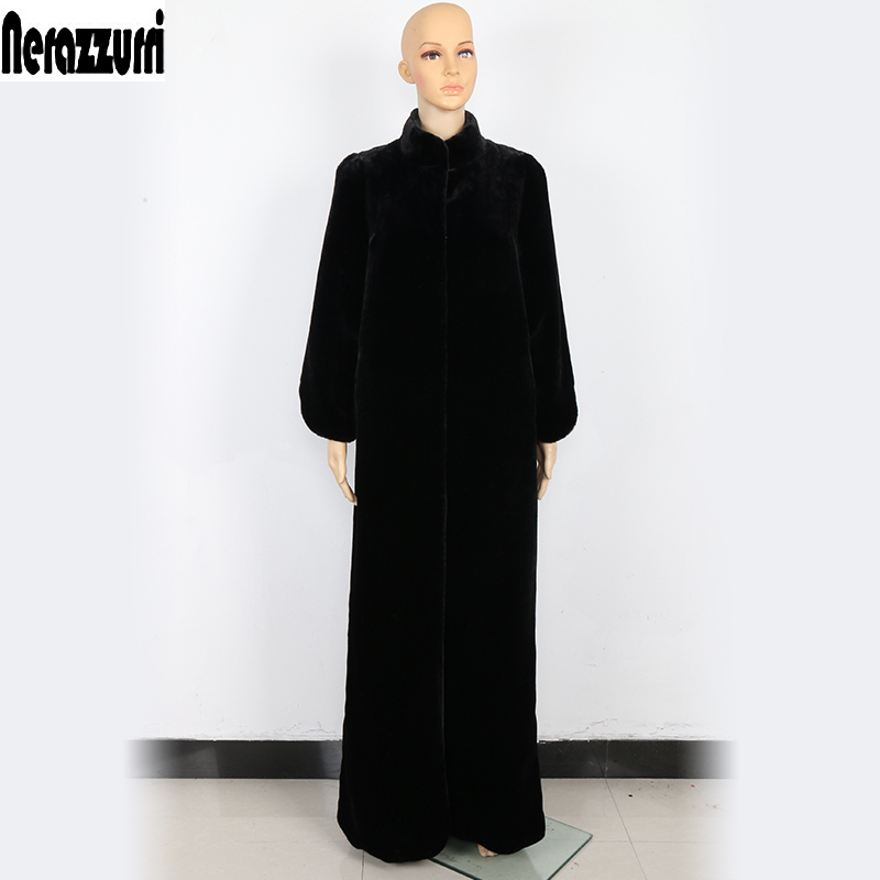 Nerazzurri Floor Length Faux Fur Coat Women Black Extra Long Plus Size Warm Outerwear Winter Furry Fake Fur Overcoat 5xl 6xl 7xl