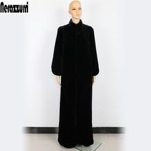Nerazzurri plumero de abrigo de piel las mujeres negro Extra largo Maxi  abrigo 5xl 6xl 7xl 9b691e69ba53