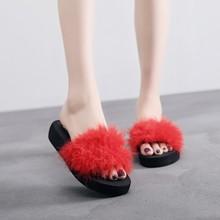 Women Home Slippers Fur Furry Slide Sweet Feather Flat Bottom Beach Shoes Fashion 2019 Female Hair Flip Flops Funny Sandals