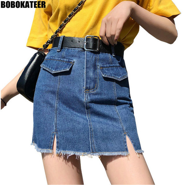 3d3ee79e878 BOBOKATEER Plus Size Denim Skirt Women Casual Blue Skirts Womens Summer  High Waist Sexy Mini Jeans
