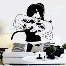 Game Handle Sticker Girl Gamer Decal Gaming Posters Vinyl Wall Decals Parede Decor Mural Video
