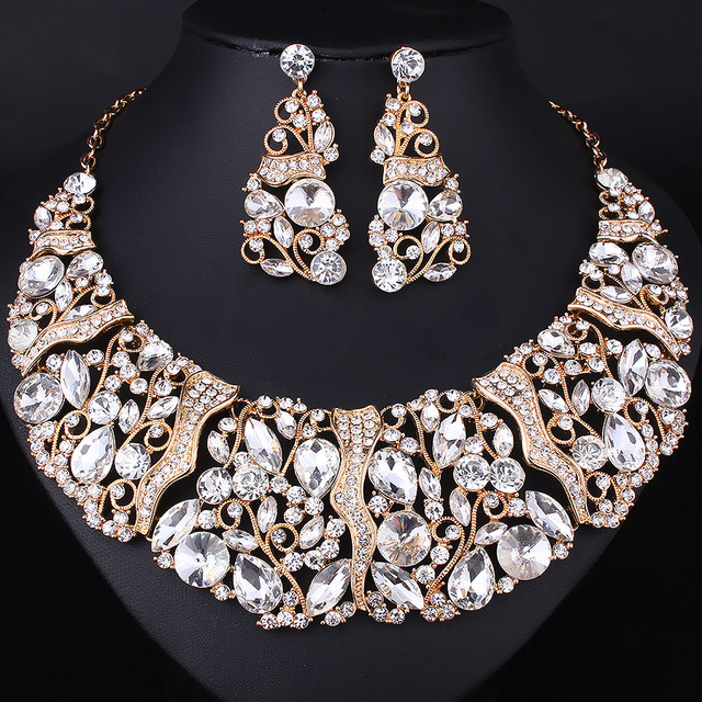 FARLENA Hot Sale Luxury High quality full rhinestones necklace and earrings sets crystal bridal wedding jewelry sets For Bride
