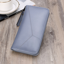 купить Korean Fashion Long Women Wallets Blue Ladies Leather Wallet Large Capacity Female Coin Purse and Card Holder Casual Money Bag дешево