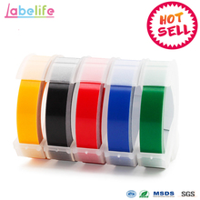 Labelife 5pcs  9mm *3m Dymo 3D Plastic Mixed Color Embossing Tapes for Embossing Label Makers DYMO  1011  1610 1595  15447 12965