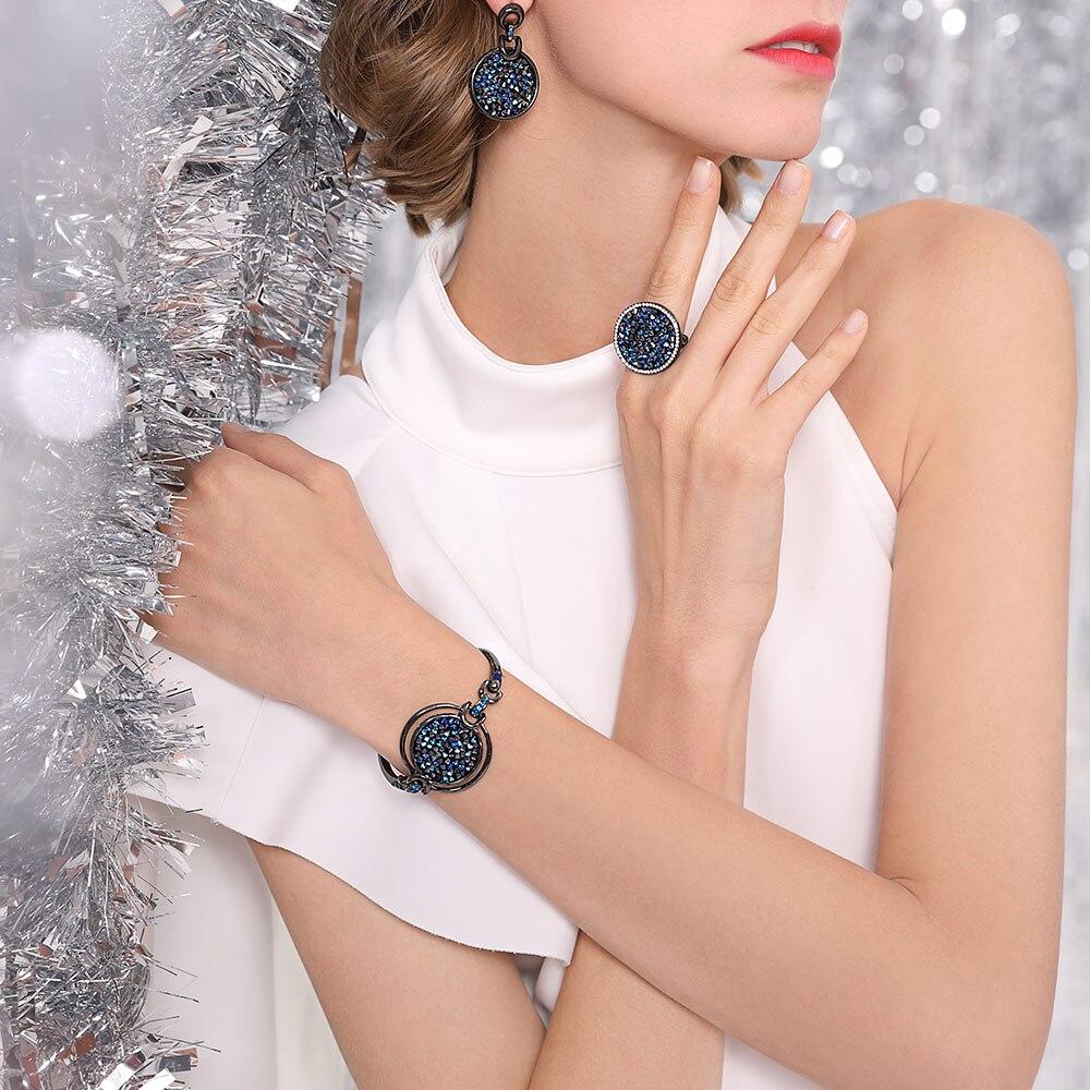 Viennois nouveau cristal bleu mode strass pendentif boucles d'oreilles anneau Bracelet et Long collier ensembles pour femmes ensembles de bijoux