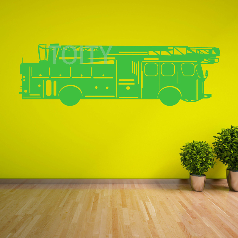 FIRE ENGINE vinyl wall art sticker Nursery decal M H38cm x W120cm L ...