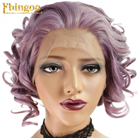 Ebingoo Short Purple Wavy Bob Synthetic Lace Front Wig For Afro American Women Free Part High Temperature Fiber Cabelo