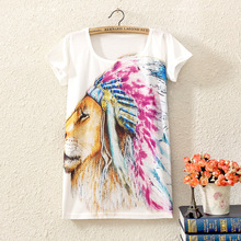 2017 summer new women casual cartoon Indian themes Lion Statue Harajuku style loose short sleeved female