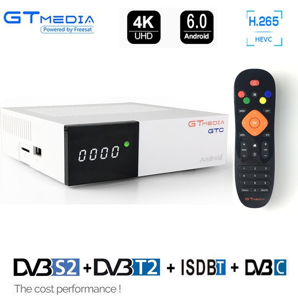 Gtmedia GTC FTA Ricevitore Satellitare DVB S2 Biss VU Cline Recettore DVB-C Sintonizzatore dvb T2 4 k contenitore di Android tv ISDB-T Bluetooth 4.0 IPTV
