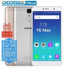 DOOGEE Y6 Max mobile téléphones 4G LTE 6.5 Pouces FHD 3 GB + 32 GB d'empreintes digitales Android 6.0 DualSIM MTK6750 Qcta Core 4300 mAH WCDMA GSM 13MP