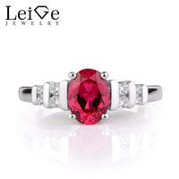 Leige Jewelry Red Ruby Rings for Women Sterling Silver 925 Fine Jewelry Ruby Engagement Wedding Rings Oval Cut Gemstone