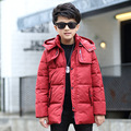 New Boys Winter Coat 2016 Thick Long Warm Zipper Jacket Children's Casual Fashion Cotton Velvet Detachable Cap Clothing Hot Sale