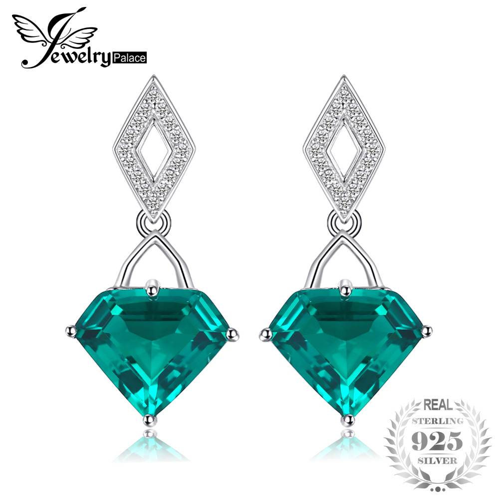 JewelryPalace Fancy 7ct Nano Russian Simulated Emerald Drop Earrings 925 Sterling Silver Earrings Fashion Women 's Jewelry jewelrypalace butterfly 3 7ct created emerald bangle bracelet 925 sterling silver fashion fashion jewelry for women 2018 new