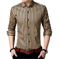 Classic Mens Striped Tuxedo Shirt Yellow White Cotton Casual Silm Fit Camisa Masculina Lapel Long Sleeve Social Shirts Clothing