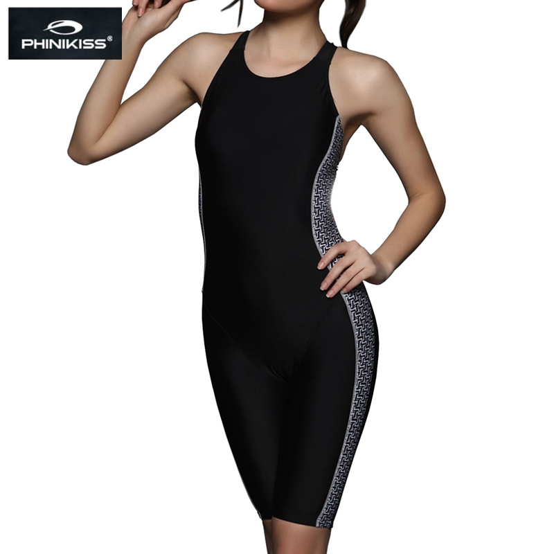 PHINIKISS Knee Length Black Racing one-piece Swimsuit Women Triathlon One-Piece Suit Big Size Swimwear Female Professional 2018 phinikiss printed racing swimwear large size one piece suit professional swimsuit sport bathing suit competition 2016 triathlon