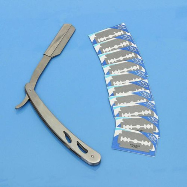 1 Set Straight Barber Edge Steel Razors Blade Clean Face Body Hair Folding Shaving Knife Rack With 10 pcs Blades Handle Razor