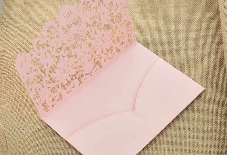 pink lace wedding invitations hollow flower personalized printing