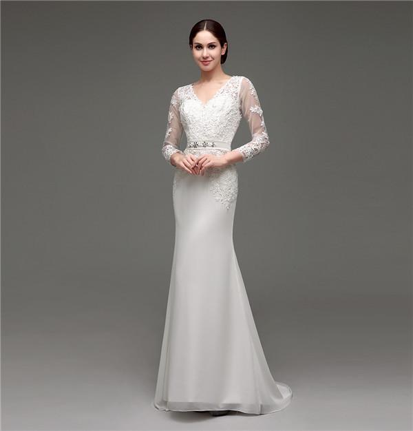 Floor-Length V-Neck Lace Chiffon Full Sleeves Wedding Dress 8