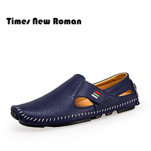 Times New Roman Band 2017 Summer Casual Shoes Men Breathable Leather Fashion Slip On Driving Shoes Comfortable Soft Men Loafers(China)