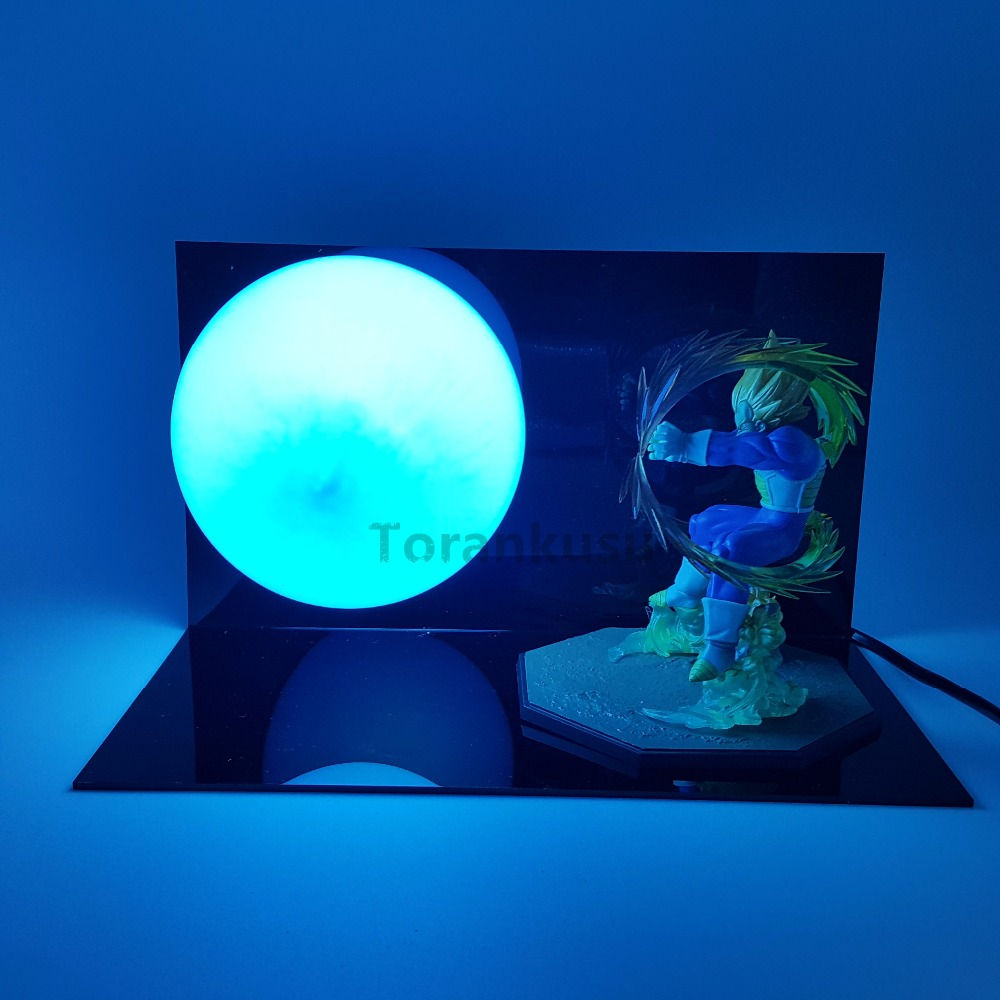 Dragon Ball Z Vegeta Super Saiyan Action Figure Led Light Anime Dragon Ball Z Figurine Model Toy Kamehameha Table Lamp promotion 6pcs bear boys baby cot crib bedding sets baby nursery bed kits set crib bumpers sheet bumper sheet pillow cover