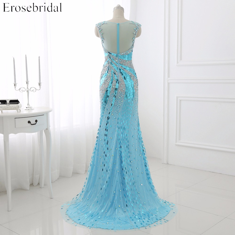 2016 Real Photo Perla Tulle Mermaid Prom Dress Scoop Neck Sequined - Haljina za posebne prigode - Foto 3