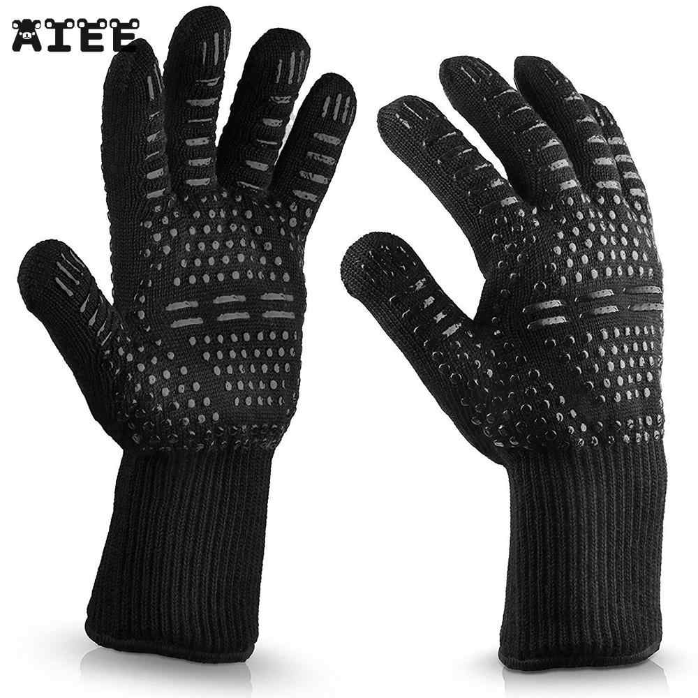 AIEE Enipate 300-500 Centigrade Extreme Heat Resistant BBQ Gloves - Lining Cotton For Cooking Baking Grilling Oven Mitts