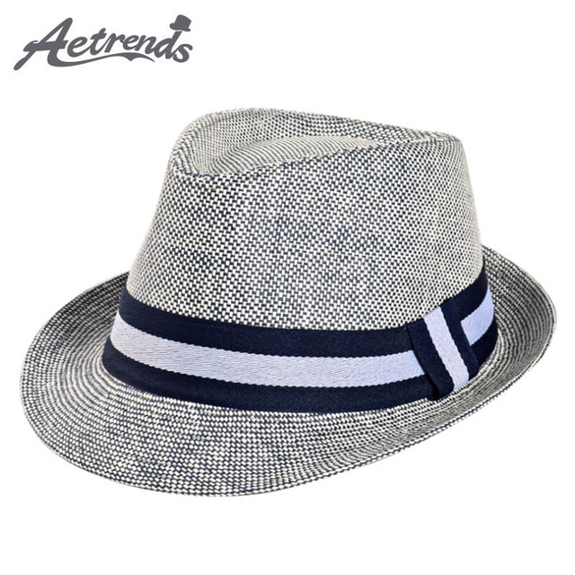 a34e1b80bb8 [AETRENDS] European Man Classic Straw Fedora Hats for Men Jazz Cap Size  58CM Z-5314