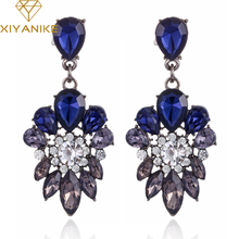 New Fashion Trendy Crystal Zinc Alloy Earrings Blue Plant Leaves Dangle