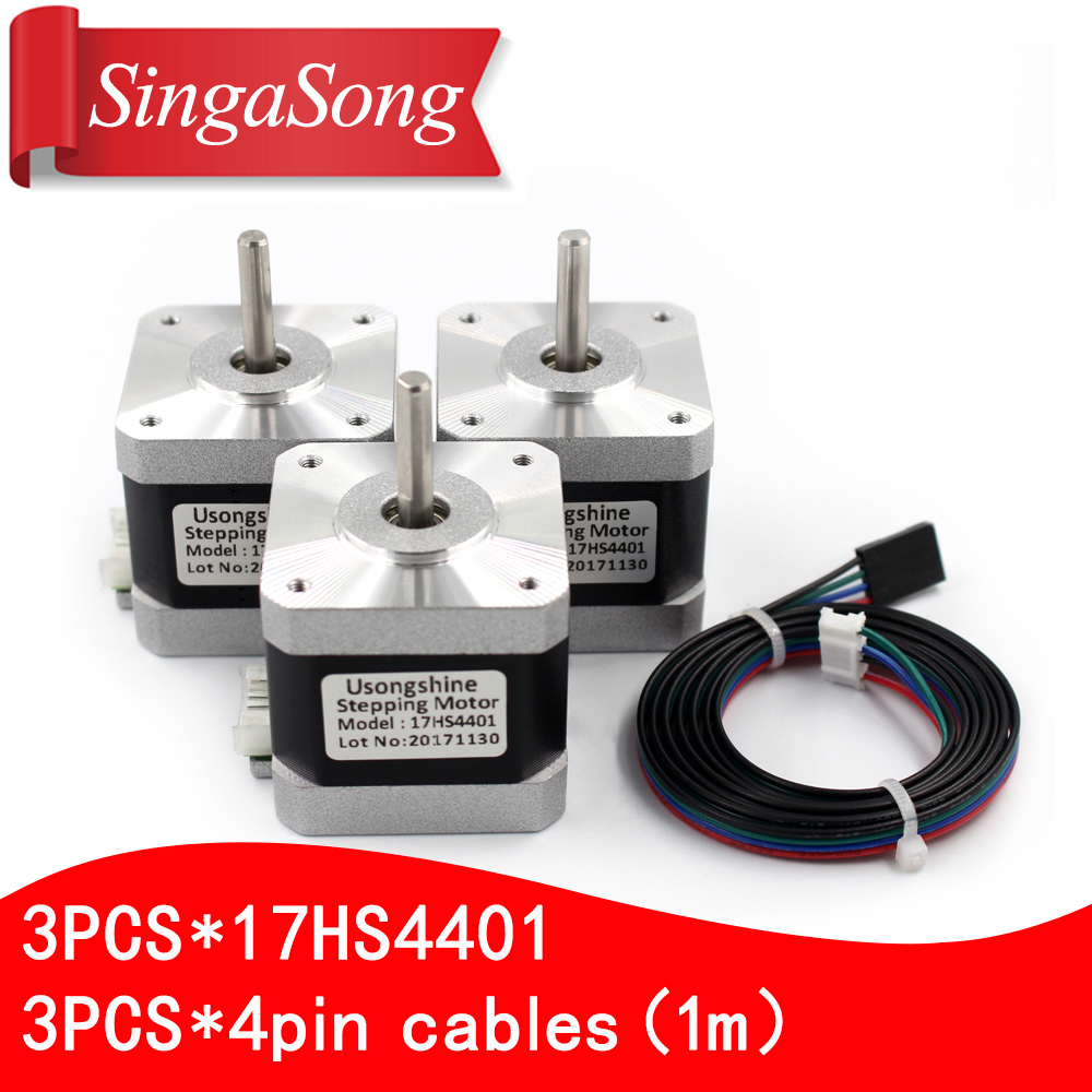 3pcs.3d printer motor 4 lead Nema17 Stepper Motor 42 motor Nema 17 motor 42BYGH 1.7A (17HS4401) motor for CNC XYZ