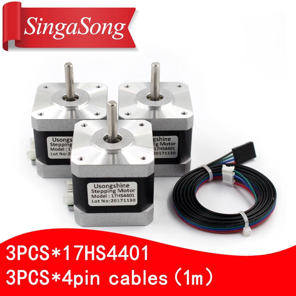 3pcs.3d printer motor 4 lead Nema17 Stepper Motor 42 motor Nema 17 motor 42BYGH 1.5A (17HS4401) motor for CNC XYZ