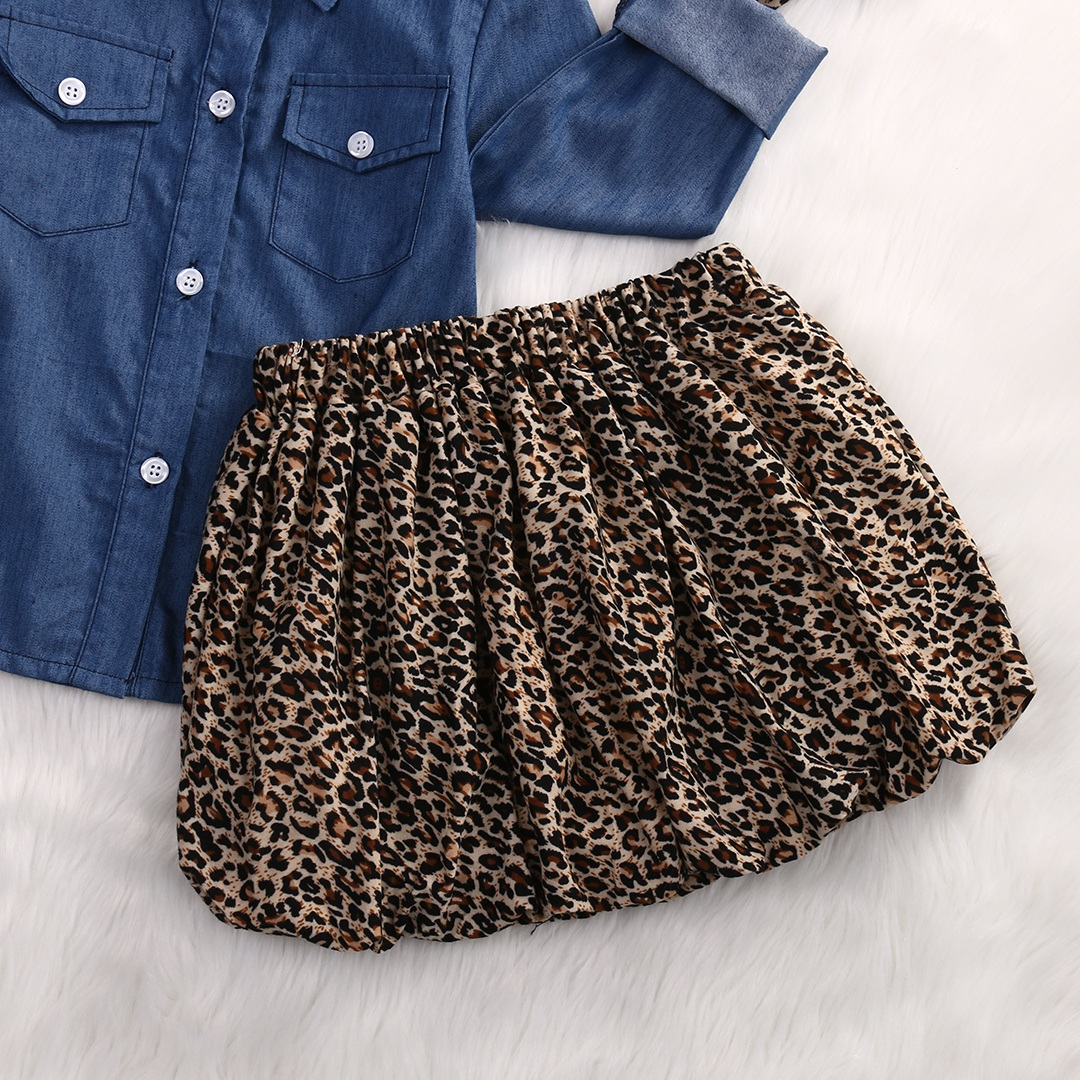 3PCS Set Cute Baby Girls Clothes 17 Summer Toddler Kids Denim Tops+Leopard Culotte Skirt Outfits Children Girl Clothing Set 8