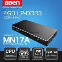 Bben MN17A windows 10 Intel Apollo N3450 Процессор stick mini pc 4 ГБ оперативной памяти + 64 г/128 г /256 ГБ опция SSD накопителя черный Wi Fi bt4.0 мини компьютер pc