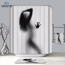 VOZRO Shower Curtain Natural Bath Waterproof Polyester 2 Meter Fabric Girl Shadow Woman Bape Douchegordijn Whal Chucky Bathroom