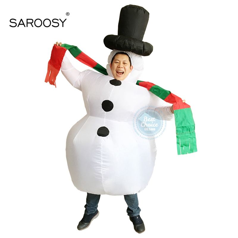 SAROOSY New Christmas Snowman Inflatable Costumes Cosplay Costume for Adult Party Performance Service Inflated Garment