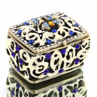 2 1 2IN Holow Metal Carved Square Trinket Box With Crystal Earring Ring Jewelry Storage Case
