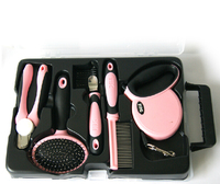 6Sets/LOT 5 IN 1 Wholesale Pet Products DELE Pet Dog Grooming Tool Automatic Luxury Kit Pink/Blue