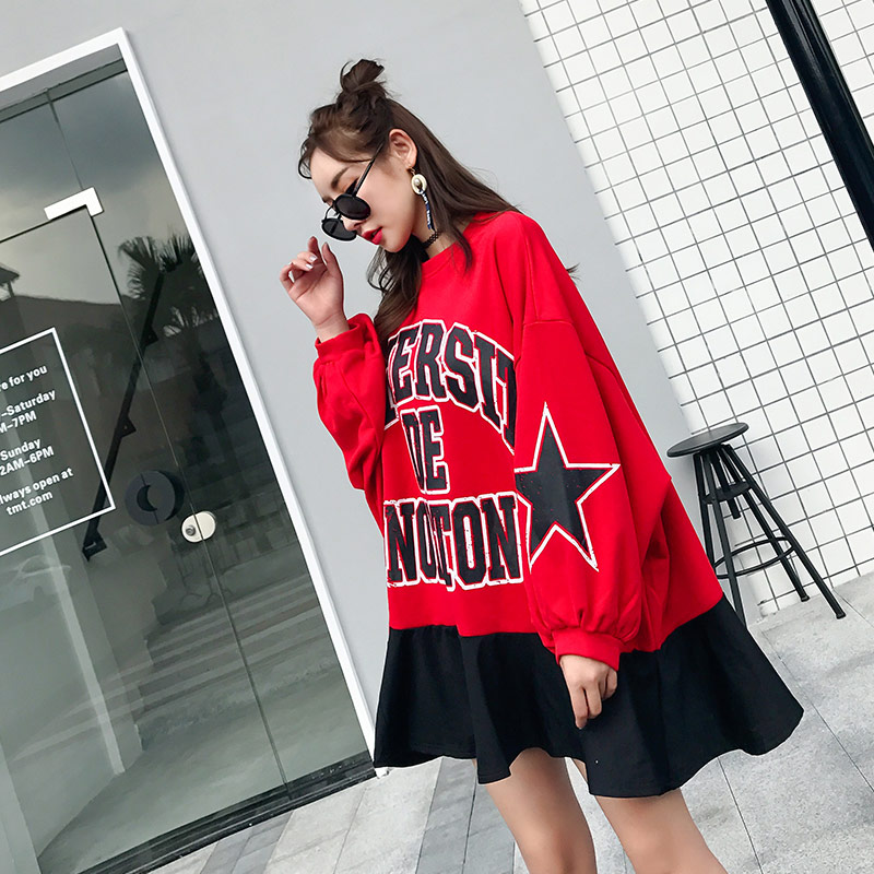 TREND Setter 2018 Autumn Loose Casual Letter Pattern Sweatshirt Women Red Pullovers Stars Sleeve