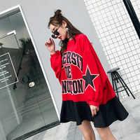 TREND-Setter 2018 Autumn Loose Casual Letter Pattern Sweatshirt Women Red Pullovers Stars Sleeve