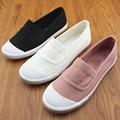 Новый Холст Повседневная Обувь Женщина Скольжения На Бездельников Обувь Черный Белый Розовый Серый