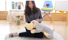 middle cute plush gray dog toy soft lying dog pillow doll gift about 60cm 2610