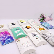 New style12.5x7.5x2cm 5pcs brown/white color design gifts package pillow box DIy halloween/ party/ childrens day cute candy