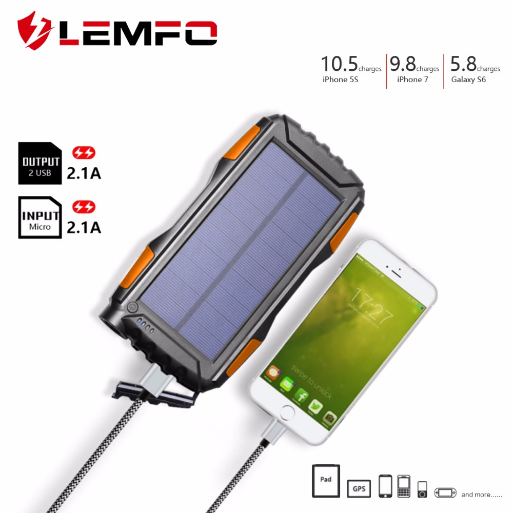 LEMFO Solar Power Bank 25000mah Batter Than 20000mah Waterproof Powerbank Portable Mobile Phone Charger Outdoor LED Lighting