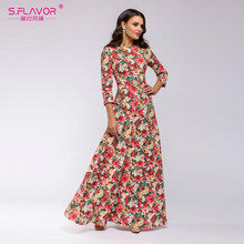 S.FLAVOR Women Fashion Flower Print Long Dress Bohemian Style Straigt O-Neck Floor-Length Autumn Russian vestidos de festa(China)