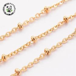 20 m/rollo 2mm oro 304 Acero inoxidable cadenas cruzadas con 3mm cuentas rotundas para fabricación de joyería DIY pulsera collar hallazgos