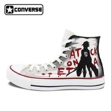 Пользовательские Дизайн Converse обувь аниме атака на Титанов Ручная роспись холст кроссовки мужские женщин бренд All Star