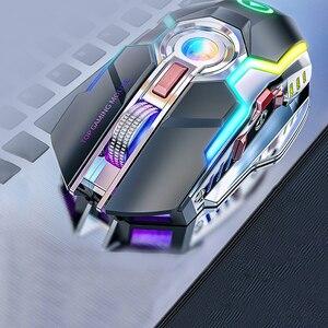 Image 2 - Беспроводная игровая мышь перезаряжаемая игровая мышь Бесшумная эргономичная 7 клавиш RGB с подсветкой 1600 dpi мышь для ноутбука Pro Gamer мышь игровая мышь мышка мышь беспроводная беспроводная мышь мышь игровая компь