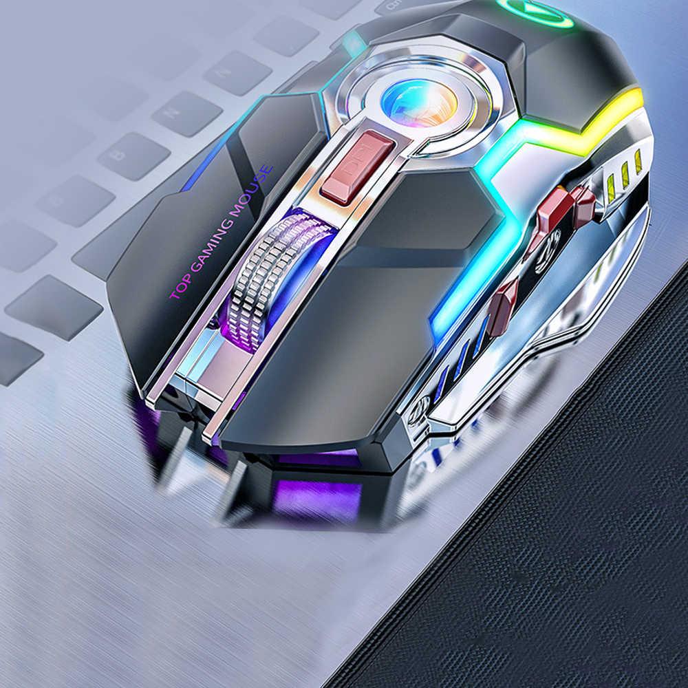 ワイヤレスゲーミングマウス充電式ゲーミングマウスサイレント人間工学 7 キー RGB バックライト 1600 DPI マウスのプロゲーマー