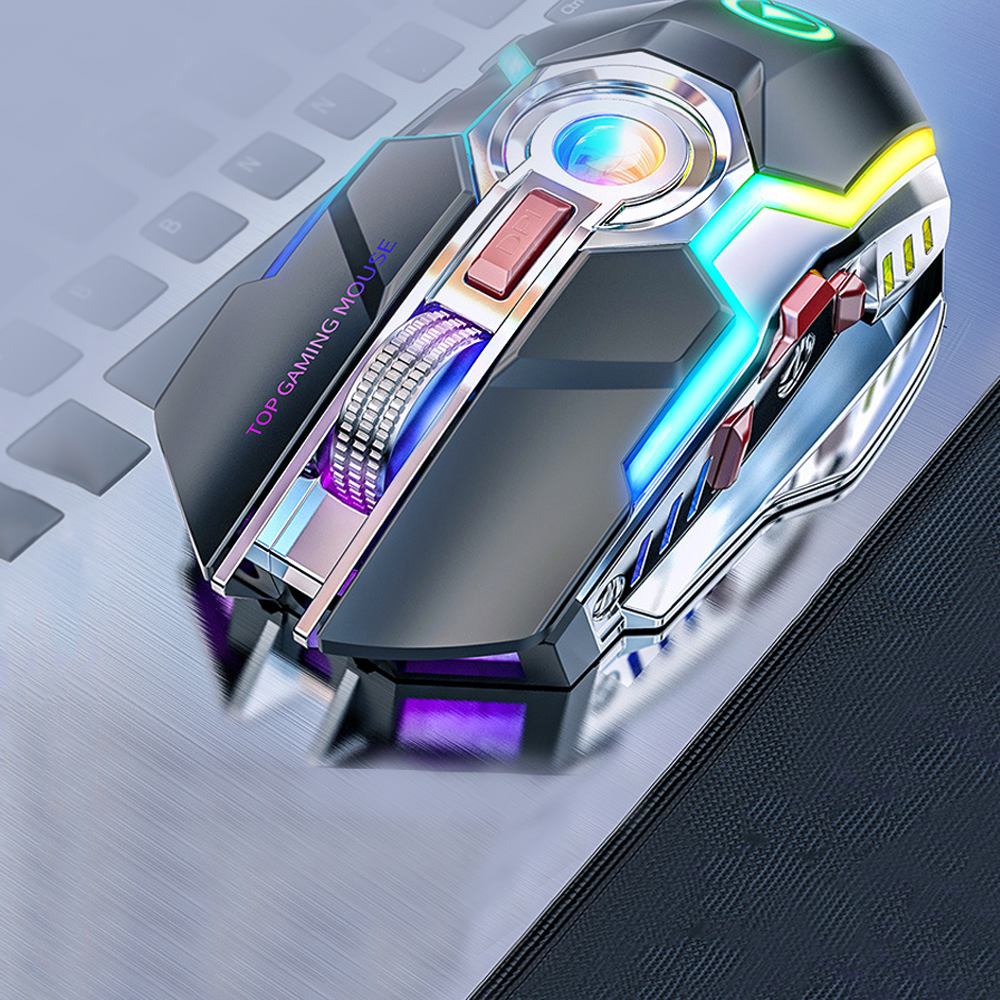 Image 2 - Wireless Gaming Mouse Rechargeable Gaming Mouse Silent Ergonomic 7  Keys RGB Backlit 1600 DPI mouse for Laptop Computer Pro Gamer-in Mice  from Computer